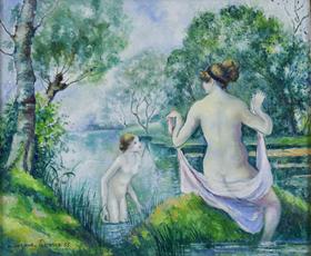 Georges Manzana Pissarro - Deux Baigneuses dans un Paysage