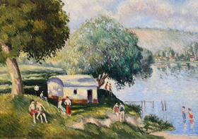 Georges Manzana Pissarro - La Plage aux Andelys