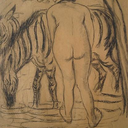Jeune Femme de Dos au Zèbre - Georges Manzana Pissarro (1871 - 1961)