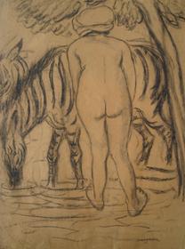 Georges Manzana Pissarro - Jeune Femme de Dos au Zèbre
