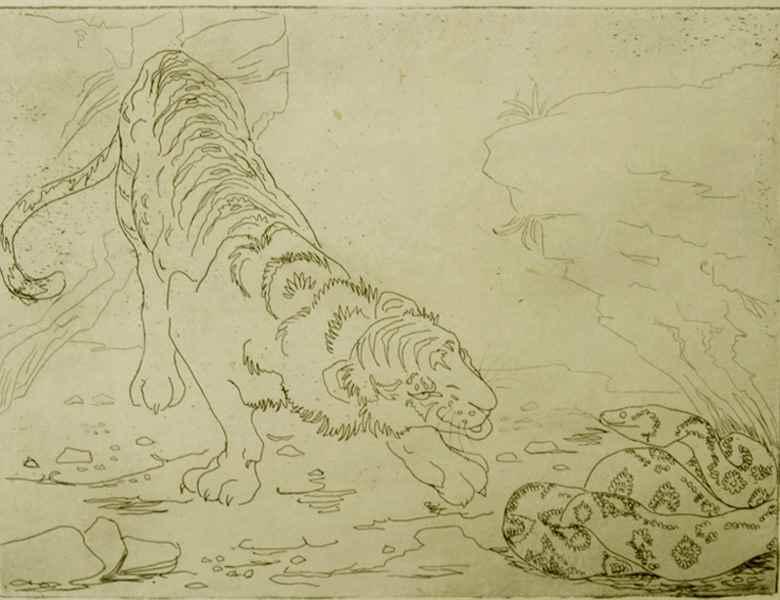Tiger and Python - Orovida Pissarro (1893 - 1968)