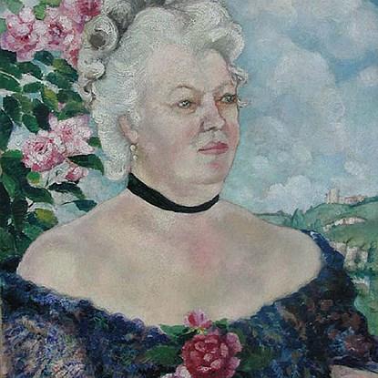 Portrait de Femme sur Fond de Paysage et de Roses - Georges Manzana Pissarro (1871 - 1961)