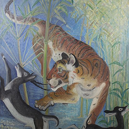 Tiger Surprises Black Buck - Orovida Pissarro (1893 - 1968)