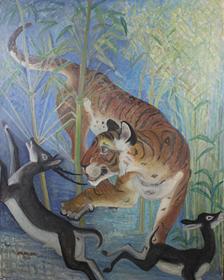Orovida Pissarro - Tiger Surprises Black Buck