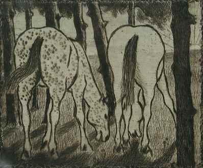 FélixPissarro - Two Horses Grazing under the Trees