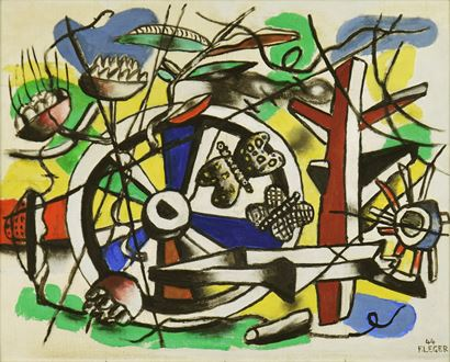 Surrealism, Constructivist, Constructivism, Modern art, modernism, Avant-garde, Léger mechanical, Léger mécanique, machinery, abstract, geometric, Georges Braque, Picasso, Francis Picabia, Robert Delauney, forerunner of pop art, art, Fernand Léger, Léger, cubism, cubist, surrealist, Futurism, Man Ray, oil on canvas board, F. Léger 44, 1944, Fernand Léger: Catalogue Raisonné de l'Œuvre Peint 1944-1948, Two Butterflies and a Wheel, Fernand Léger Retrouve la France, Cubisme, Cubism,