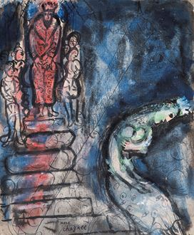 Marc Chagall, Chagall, Modern Art, Symbolism, Fauvism, Naïve art, India ink and ink wash on paper, ecole de Paris, David McNeil, Verve Bible publication, Verve, Verve Bible, 1958, 1959, Book of Esther, Persian King Ahasuerus, Marc Chagall: Master of Colour, Comité Chagall, 1887 – 1985, cubism, King David, Israel, Old Testament, Russian Art, Russia, Jewish, Judaïca, Juif, Tériade