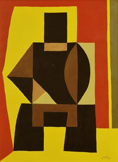 Léon Gischia, Gischia, Composition, Ferdinand Léger, abstract, abstract art, oil on canvas, for sale, artwork, art, painting, Léger, Amédée Ozenfant, Le Corbusier, Purist art, Purist movement, Cubism, geometric art, figurative representation, cubist, cubist art, Jeanne Bucher, Montparnasse school, Montparnasse, Galerie Alfred Poyet, Galerie Braun, Galerie de France, school of paris, ecole de Paris, ecole de Montparnasse,  Galerie Billiet-Caputo, Venice Biennale, Theatre National Populaire,