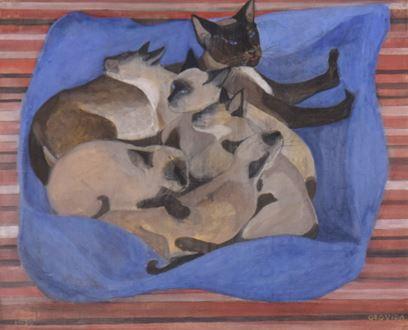 OrovidaPissarro - Siamese Cat with Kittens