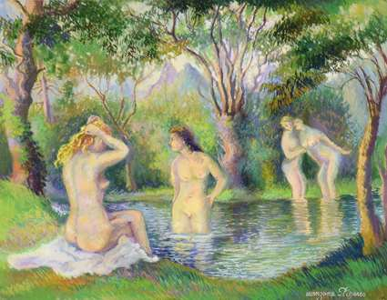 Georges ManzanaPissarro - Baigneurs sur la riviere