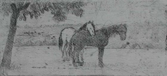 FélixPissarro - Two Horses in a Field