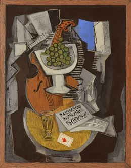 Ismael De La Serna, De La Serna, Composition au Guéridon, cubist, cubism, oil on pencil on board, executed in 1931, 1931, signed, original, for sale, Spanish School of Paris, Pablo Picasso, Georges Braque, Modigliani, Amedeo Modigliani, abstraction, Camille Pissarro, Paul Cézanne, Cézanne, Paul Guillaume, Henri Matisse, Tate Gallery, the essence and the ultimate goal of painting, free artistic style, Man Ray, Salvador Dali, cubist painting,
