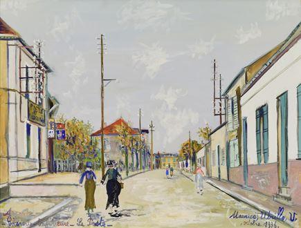 Streetscape, modernist, cityscape, 1936, city scene, gouache on paper, Degas, Renoir