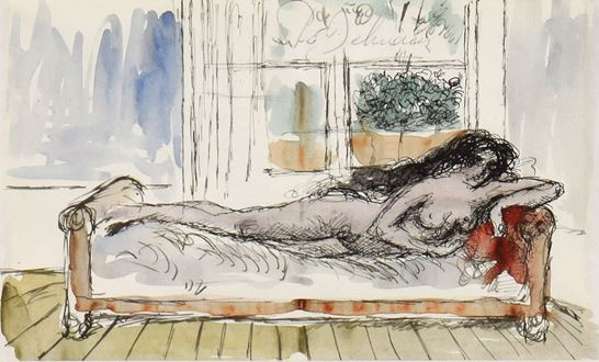 Paul Delvaux, Delvaux, Nu Couché, Surrealism, nude, Watercolour and China ink on paper, P Delvaux, 1897-1994, artwork, art, original, Giorgio de Chirico, 1897, 1969, 1897-1994, Paul Delvaux Foundation, René Magritte, Margritte, rue Royale, Ensor, Labisse,