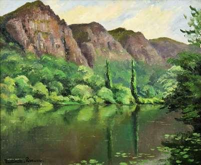PaulémilePissarro - Montagnes au Bord d'une Rivière
