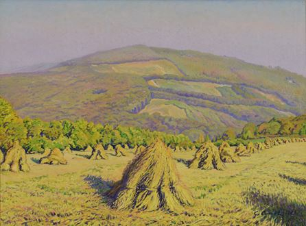 French landscape, haystack, Monet, pointillist, Société des Artistes Indépendants, post-impressionist, impressionist, Millet, Jean Francois Millet, oil on canvas, impasto, Gustave Cariot, Cariot, French, oil on canvas, painting, Gustave Camille Gaston Cariot, art