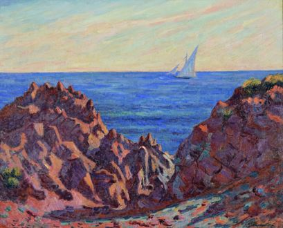 Seascape, landscape, post-impressionism, impressionism, South of France, Oil on canvas, Armand Guillaumi, Guillaumi,