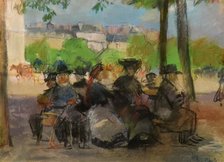Isaac Israëls, Israëls, Figures in a Park Paris, Impressionist, Impressionism, for sale, pastel on paper, signed, 1908, Jozef Israëls, Tachtigers, KABK, Royal Academy of Art the hague, Realism, Hague School, Amsterdam Impressionism, Modern Art, 1865-1934,  Kröller-Müller Museum, Dutch Impressionist