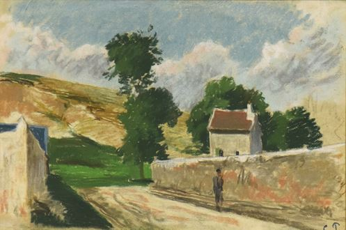 Camille Pissarro, Pissarro, Une Rue à l'Hermitage, Pontoise, Impressionist landscape, signed, initialled, for sale, original, pastel over charcoal on paper, impressionist pastel,1830-1903, 1873, Impressionism, first impressionist exhibition, en plein air, Paul Cézanne, Cézanne, Claude Monet, Monet, first impressionist, Paul Gauguin, Gauguin, authentic, art, pastel sketch, 1874, Pissarro 1873, Pissarro 1874, Pissarro 1875