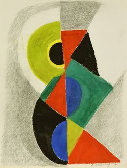 Sonia Delaunay, Delaunay, Rythme Couleur, Section d'Or, Modern art, Orphism, gouache on paper, signed, original, for sale, 1972, 72, Sonia Delaunay 72, Académie de La Palette, French-Ukrainian artist, artwork, painting, art, cubism, cubist, fauvism, Robert Delaunay, woman artist, Sonia Terk, Sonia Terk-Delaunay,