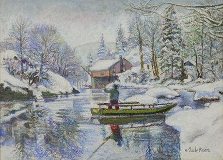 H. ClaudePissarro - Neige aux Bords du Doubs: la Barque Jura Neuchâtelois en Hiver