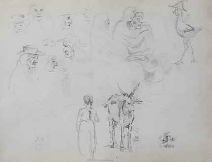 CamillePissarro - Figure Studies, a Goat and Child, Studies of Heads and a Seated Woman