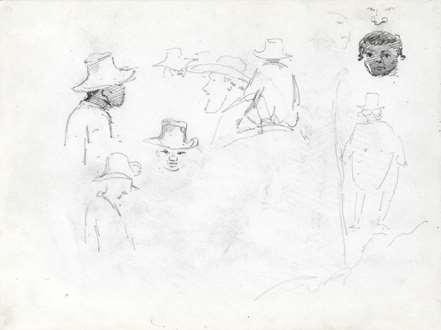 CamillePissarro - Study Of Men's Heads