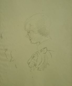 OrovidaPissarro - A Study of Human Head and Tiger