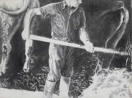 YvonPissarro - Farmhand in a Cowshed