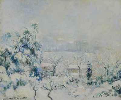 Georges ManzanaPissarro - Vue de la Fenêtre de l'Artiste, Menton Carei sous la Neige