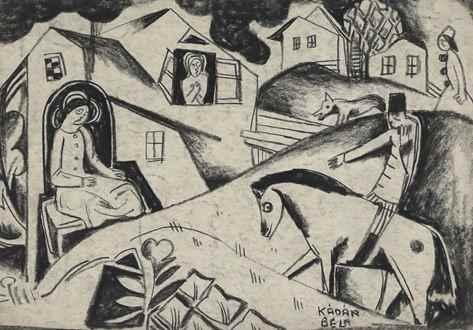 BélaKádár - Village Scene