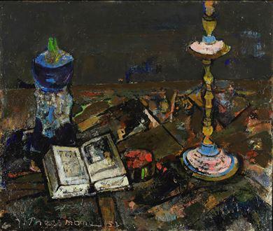JosephPressmane - Still Life with Candlestick and Book