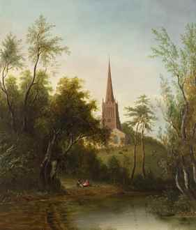 SarahFerneley - Figures by a Pond, with Cattle and a Church beyond