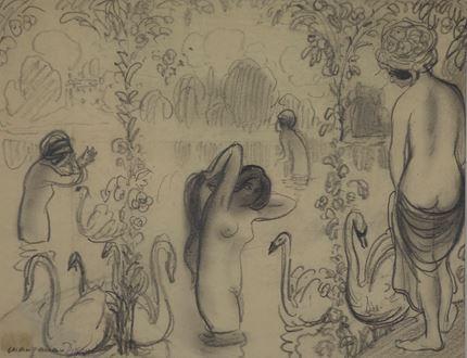 Georges ManzanaPissarro - Bathers with Swans