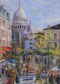 H. ClaudePissarro - Les Parasols Blancs - Montmartre