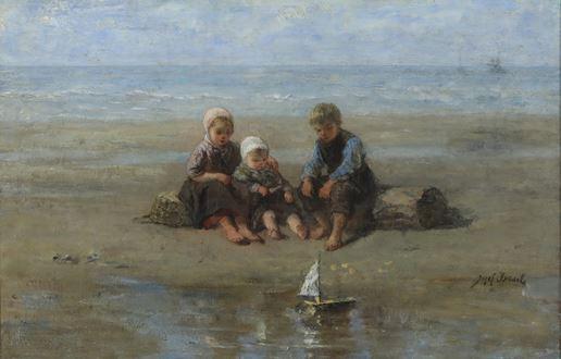 JozefIsraëls - Three Children by the Beach