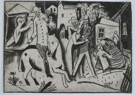 BélaKádár - Figures in a Village