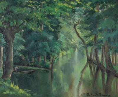 PaulémilePissarro - Barque sur la rivière
