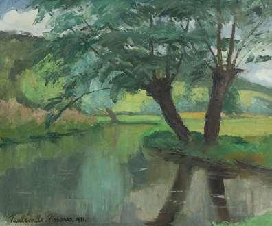 PaulémilePissarro - Rivière et Saules