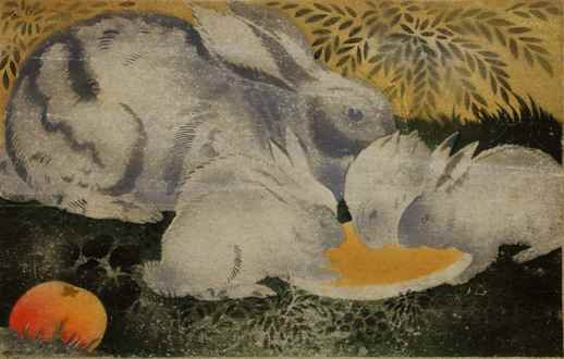 Georges ManzanaPissarro - Rabbit with Four Baby Rabbits