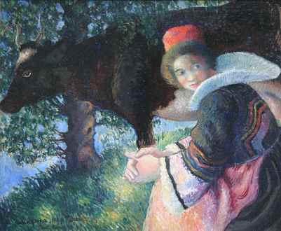 Georges ManzanaPissarro - Bretonne à la Vache
