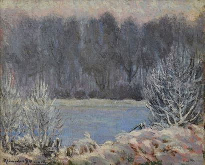 Alexander Altmann, Alexandre Altmann, Altmann, Winter Landscape, oil painting, for sale, original, signed, impressionist landscape, painting, Salon d'Automne, Salon d'Izdebsky, Salon des Indépendants, Luxembourg Palace Museum, Impressionist, impression, post-impressionism, post-impressionist painting, Jean-Michel Atlan, Atlan, Altmann 1885, artwork, art for sale