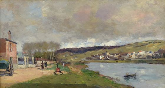 Albert Lebourg, Lebourg, Village et Promeneurs en Bord de Seine, oil on canvas, for sale, Impressionism, impressionist, landscape, art, painting, seine, banks of the seine, Impressionist landscape, painting of the Seine, Impressionist painting, signed, A Lebourg, Leborug 1849, Post-Impressionism, Post- Impressionist, Modern Art, Gustave Courbet, Courbet, French painter, Lebourg paintings, peintre, 1849-1928, 1870s,  l'École des Beaux Arts, l'Academie de Peinture et de Dessins,