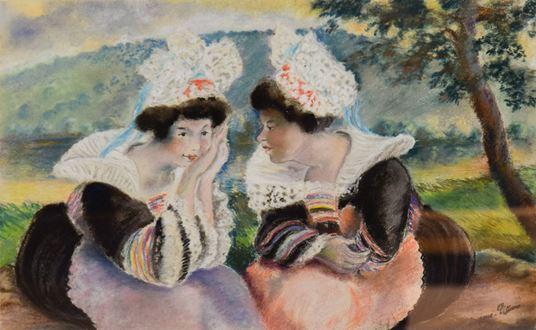 Georges ManzanaPissarro - River landscape with two Breton women