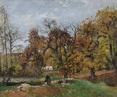 Rural landscape, fleeting nature of light, impressionistic, impressionism, characteristic brushstrokes, Impressionism, Impressionist art, Impressionist landscape, en plein air, barbizon school, durand-ruel, 1869, The Lefevre Gallery, impasto paint, the first impressionist as proclaimed by Cezanne, Impressionist painting for sale