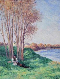Maximilien Luce, Luce, Le Repos sur les Bords de la Loire à Saint-Ay, oil on canvas, for sale, original art, artwork, impressionism, impressionist, 1910-1912, signed, post-impressionist, Eugène Froment, Société des Artistes Indépendants, Neo-Impressionism, Neo-Impressionist, Camille Pissarro, Pissarro, Paul Signac, Signac, Georges Seurat, 1858-1941, anarchist, French painter, Pointillism, Pointillist, art