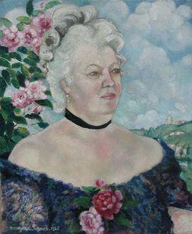 Georges ManzanaPissarro - Portrait de Femme sur Fond de Paysage et de Roses